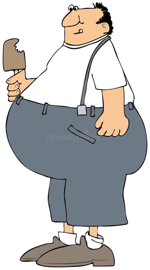 Fat man eating an ice cream bar royalty free illustration