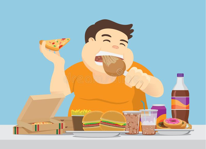 Fat man enjoy with a lot of fast food on the table. vector illustration