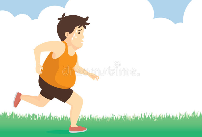 Fat man feeling tired to jogging in park stock illustration
