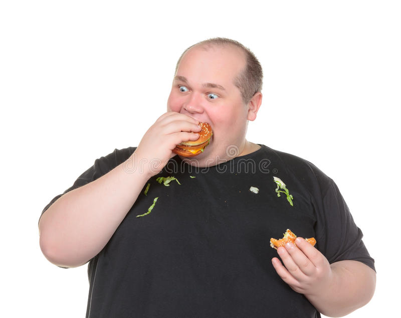 Download Fat Man Greedily Eating Hamburger Stock Image - Image: 29129987