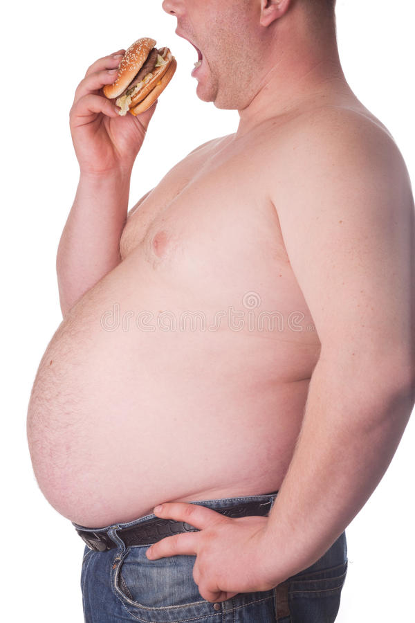 Fat Man With Hamburger Stock Images