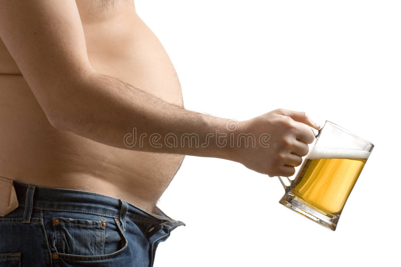 Fat man holding a beer glass royalty free stock photo