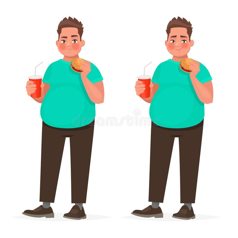 Fat man holding a hamburger in his hand. Overweight guy with fast food. The concept of improper nutrition stock illustration