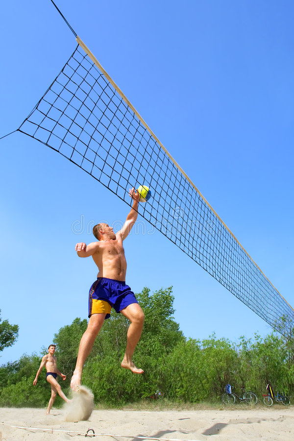 Download Fat man jumps to push ball stock photo. Image of blue - 2700404