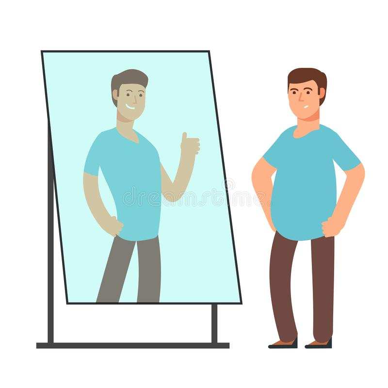 Fat man looking on strong and thin person reflection in mirror. Fitness goals vector concept. Man standing in mirror with overweight illustration stock illustration
