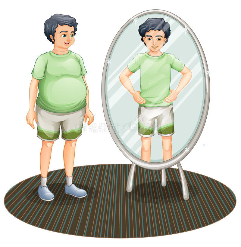 A fat man outside the mirror and a skinny man inside the mirror stock illustration