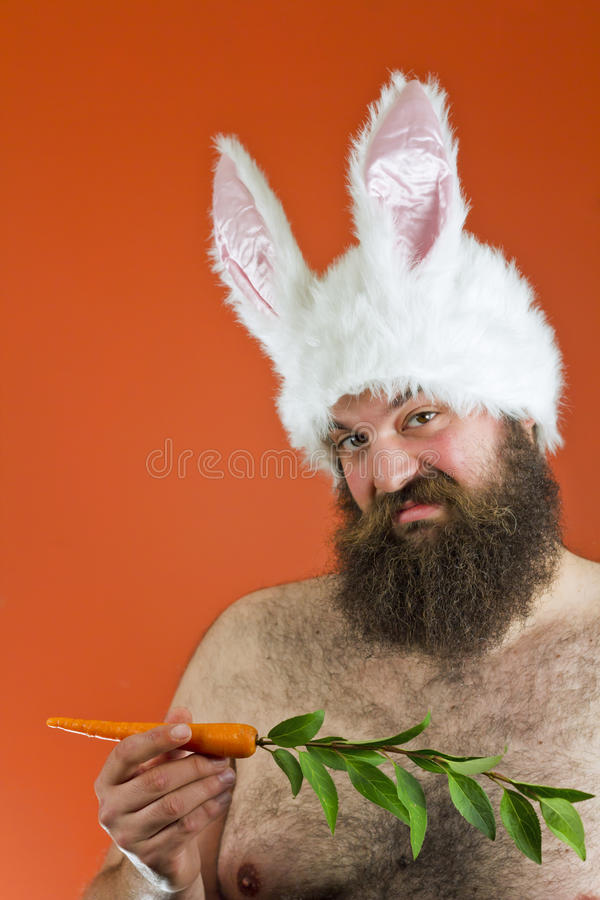 Fat Man Rabbit Ears stock photo