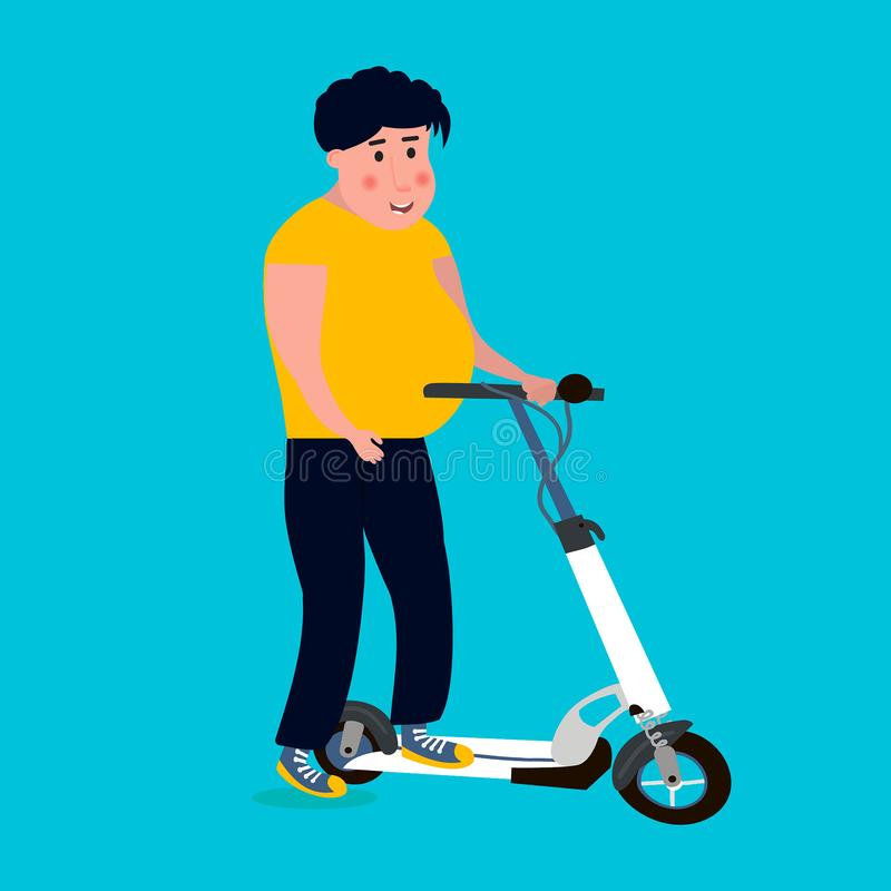 Fat man rides on the scooter. Vector illustration vector illustration