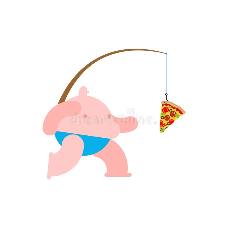 Fat man run for pizza. fast food on fishing rod.  royalty free illustration