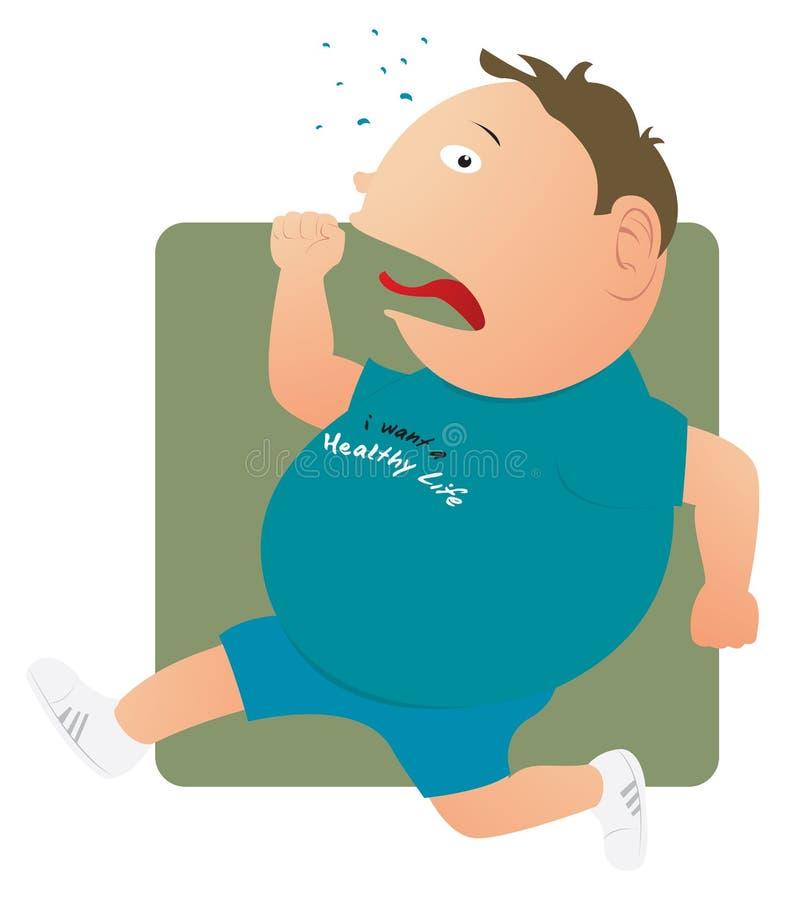 Fat man running vector illustration
