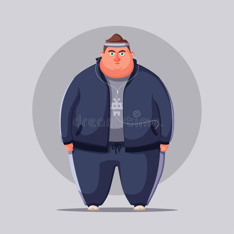 Fat man. Running and activity lifestyle concept. Cartoon vector illustration. Fat man. Fat and health problems, strong sport in process. Running and activity vector illustration