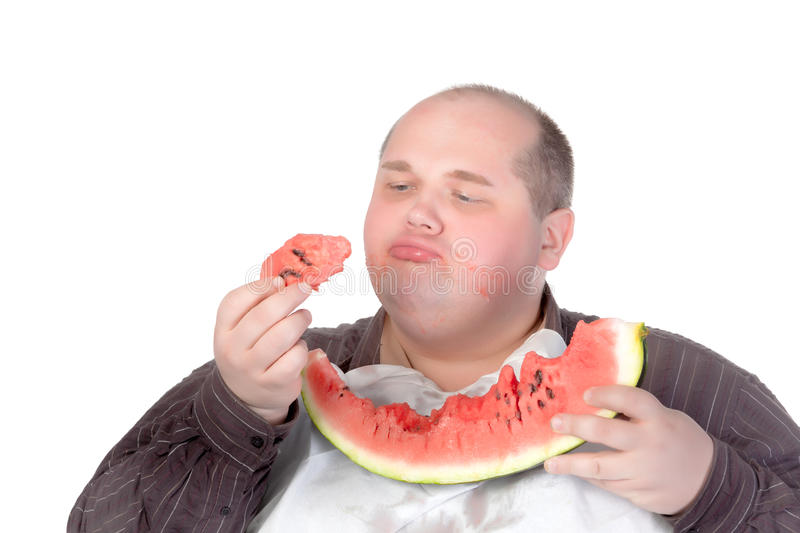 Download Fat Man Savouring A Slice Of Watermelon Royalty Free Stock Photo - Image: 27228535
