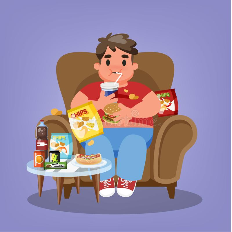 Fat man sitting in the armchair and eating fast food. Overweight guy holding burger and drink soda. Unhealthy lifestyle. Vector illustration in cartoon style vector illustration