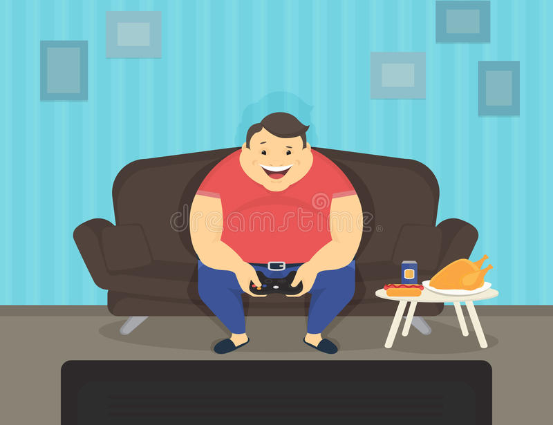 Fat man sitting at home on the sofa playing video games and eating stock illustration