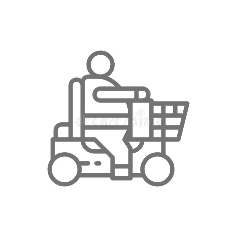 Fat man sitting in wheelchair, disabled carriage, obesity line icon. royalty free illustration