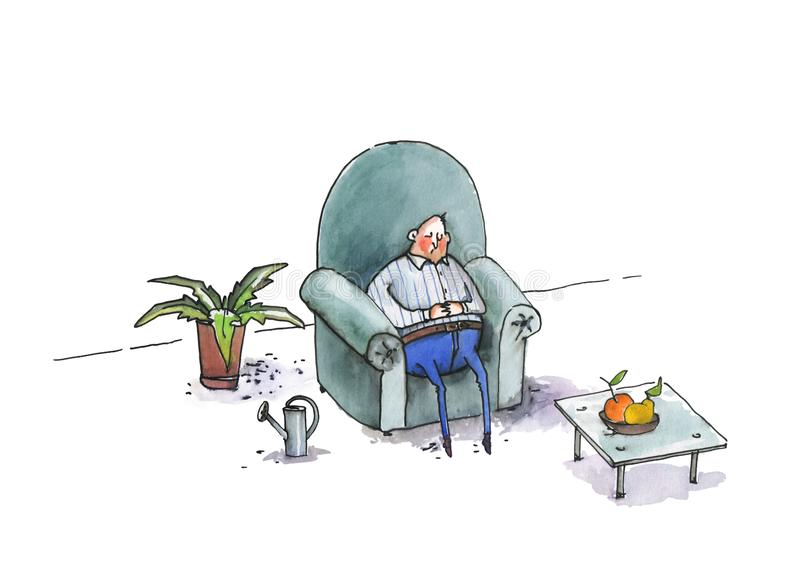 Fat man sleeps in a large blue armchair. In a room with a table and a plate of fruit and a watering can for watering flowers. Humorous illustration. Watercolor stock illustration
