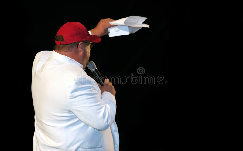 Fat man on stage royalty free stock photos