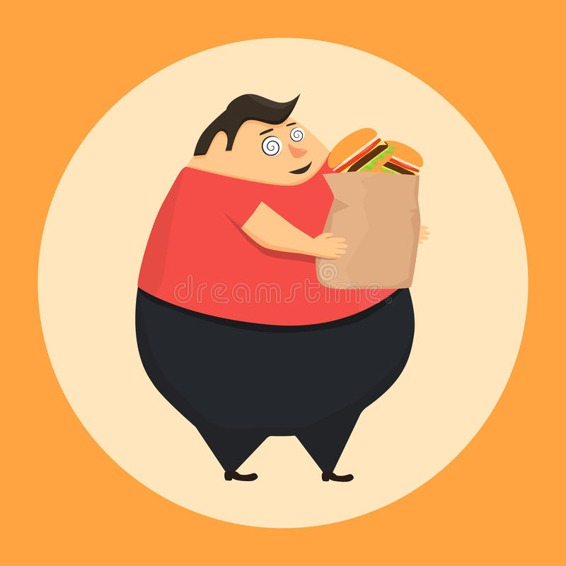 Fat man in state of hypnosis wants burger. Weak willpower royalty free illustration