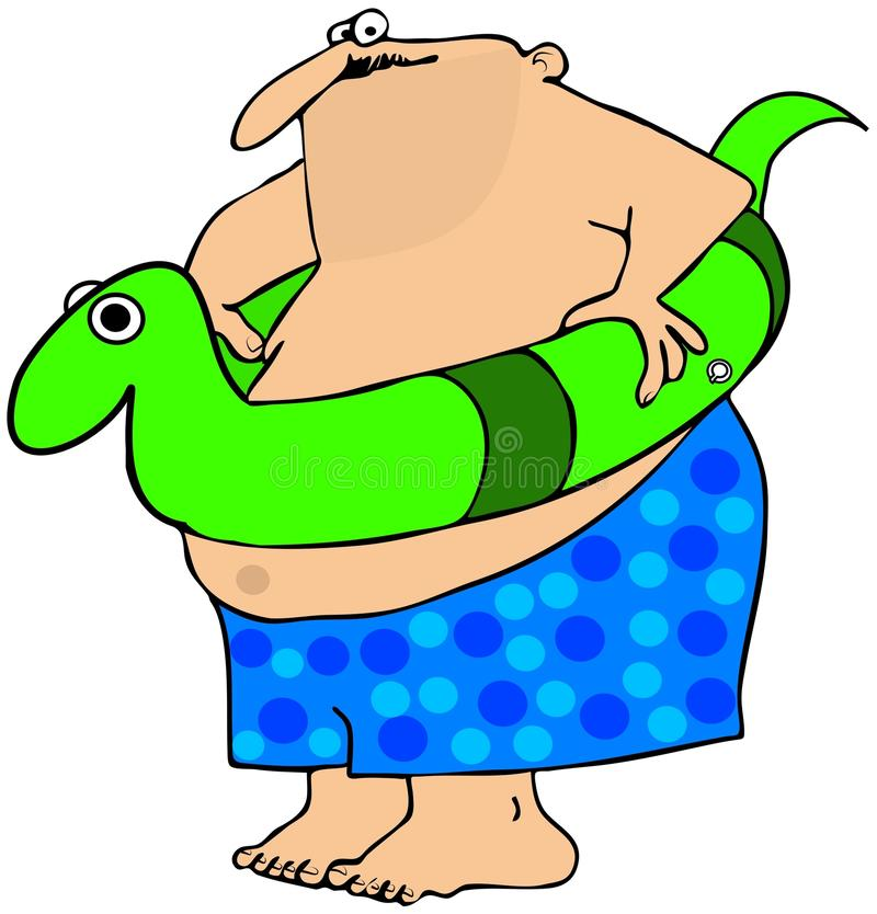 Fat Man With A Swim Toy Royalty Free Stock Photography