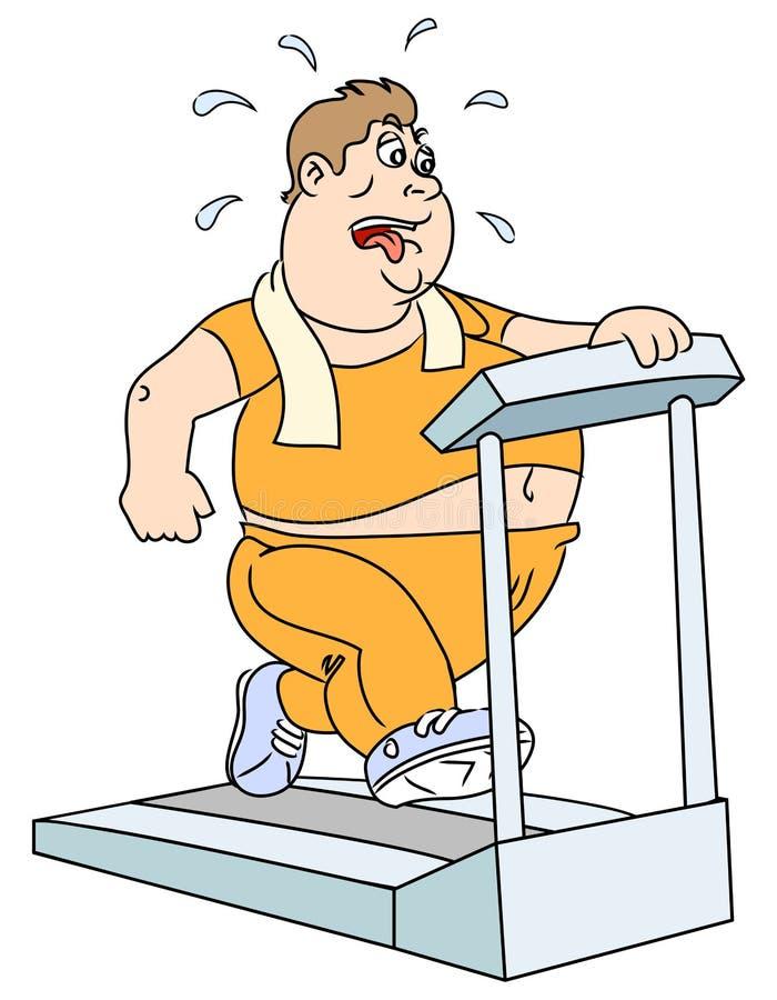 Fat man and treadmill. The fat man on the trainer treadmill. Vector illustration stock illustration