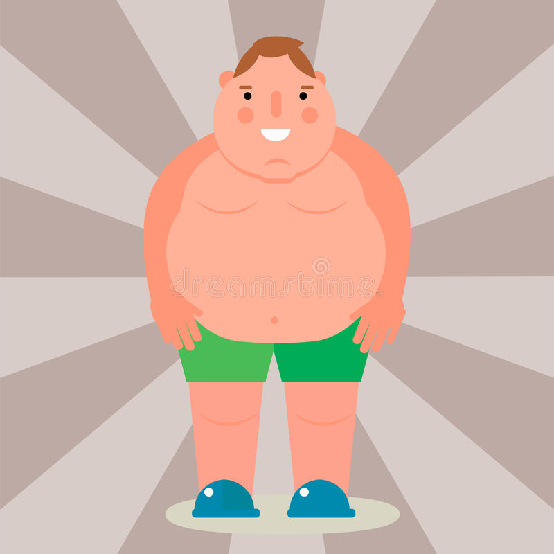 Fat man vector flat illustration overweight body person unhealthy big belly character. stock illustration