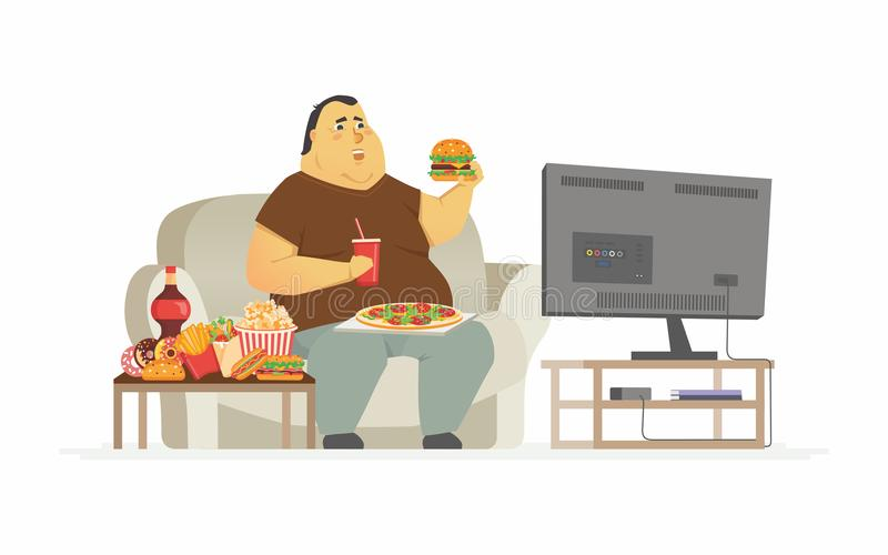 Fat man watching TV - cartoon people character isolated illustration stock illustration