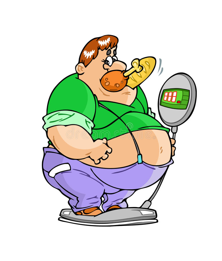 Fat Man on the weighing-machine. The illustration shows of a big fat man on the weighing-machine, his mouth a piece of chicken and loaves royalty free illustration