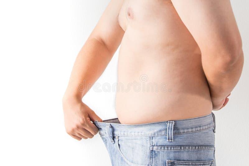 Fat man on white background stock photo
