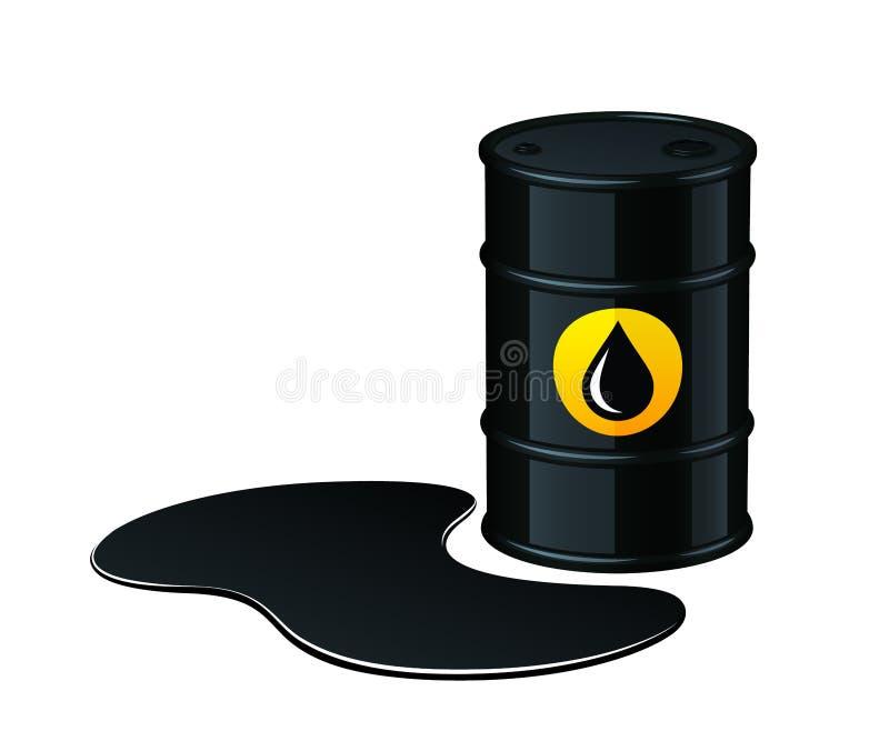 Fat med den spillda olje- vektorillustrationen royaltyfri illustrationer