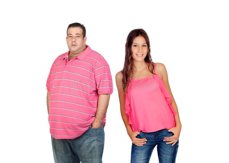 Fat man with slim woman royalty free stock photo
