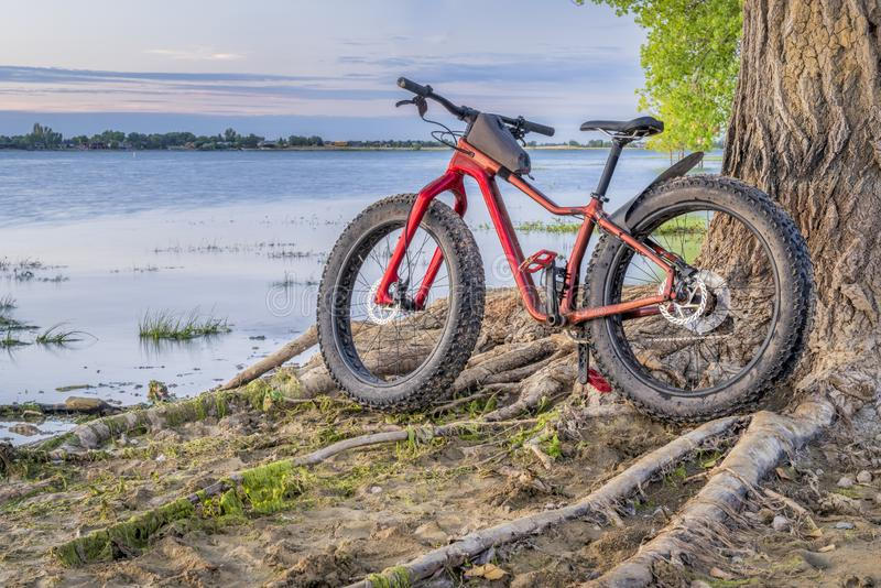 Fat mountain bike on a lake shore. Boyd Lake State Park in northern Colorado stock photos