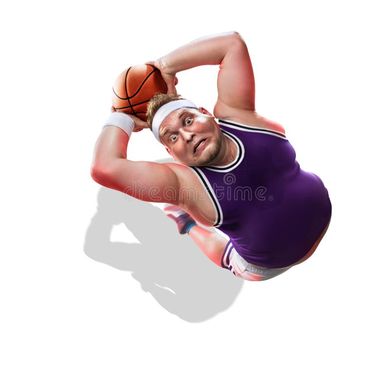 Fat non professional basketball player in action. Fun. isolated stock photography
