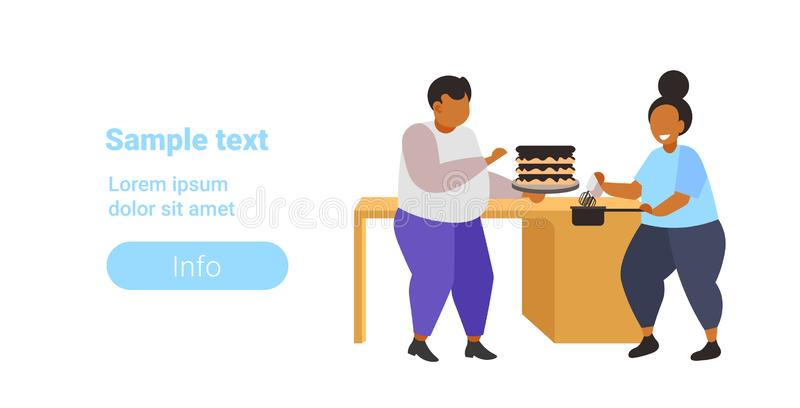 Fat obese coupe cooking sweet homemade dessert overweight man woman cooking cake unhealthy nutrition obesity concept. Flat full length horizontal copy space royalty free illustration