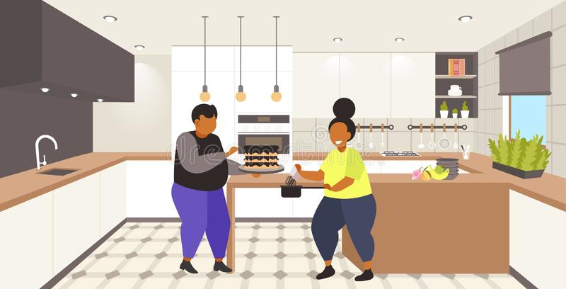 Fat obese coupe cooking sweet homemade dessert overweight man woman cooking cake unhealthy nutrition obesity concept. Modern kitchen interior flat full length stock illustration