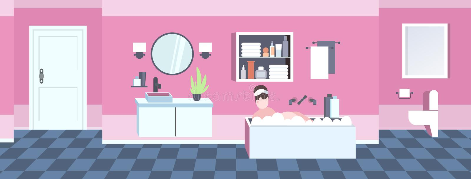 Fat obese woman washing relaxing in bath with foam overweight girl lying in bathtub obesity concept modern bathroom. Interior flat horizontal full length vector stock illustration