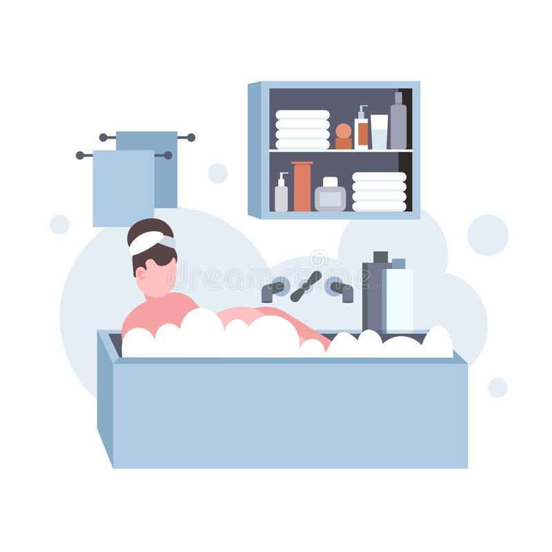 Fat obese woman washing relaxing in bath with foam overweight girl lying in bathtub obesity concept modern bathroom. Interior flat full length vector royalty free illustration