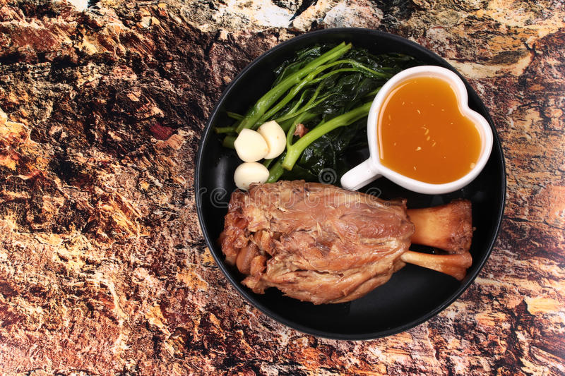 Fat out recipe of stewed pork. Fat out recipe of stewed pork, Stewed pork hock peel skin and fat out with boiled kale . Call Kha Moo Palo Rai Mun in Thai. Have royalty free stock image