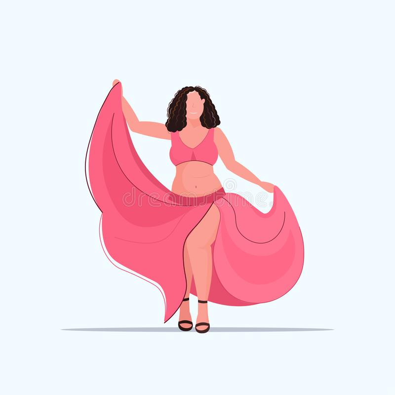 Fat overweight body positive girl standing pose obese smiling woman dancing in dress over size female cartoon character vector illustration
