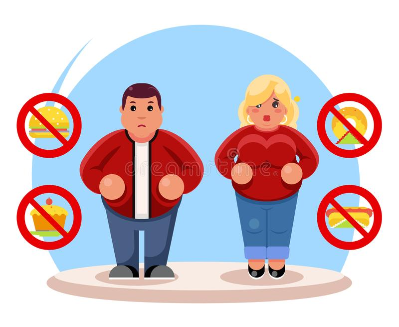 Fat people diet character beauty figure body lose overweight health refusal junk food flat cartoon design vector royalty free illustration