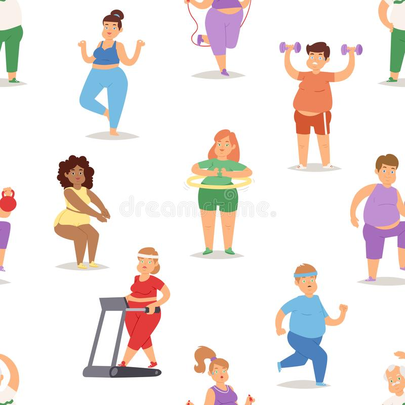 Fat people doing exercise training gym gymnasium sport fatty food rich character workout vector illustration seamless royalty free illustration