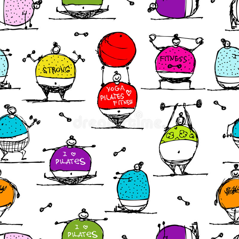 Fat people doing sports, seamless pattern royalty free illustration