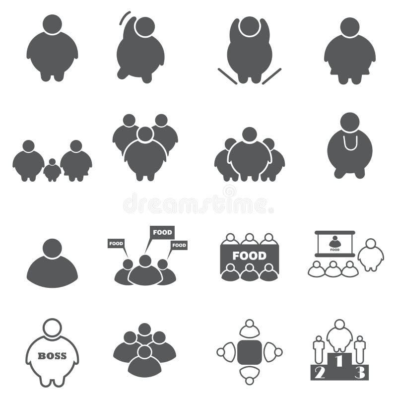 Fat people icon set vector illustration