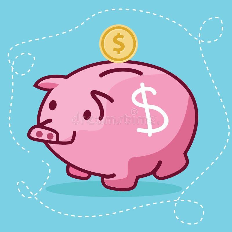 Fat piggy bank coin insert drawing flat fun illustration pig character stock illustration