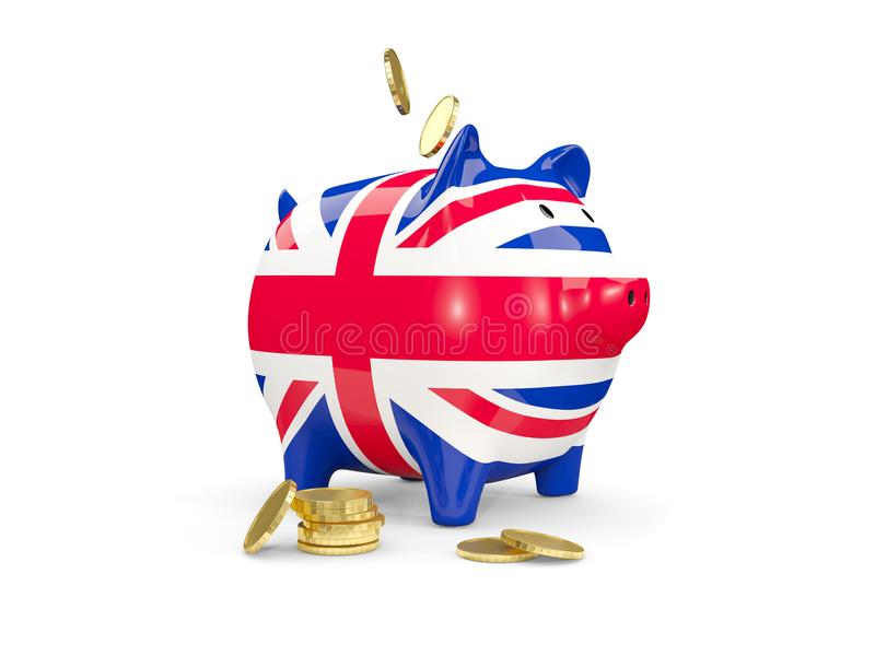 Fat piggy bank with flag of united kingdom. And money isolated on white. 3D illustration royalty free illustration