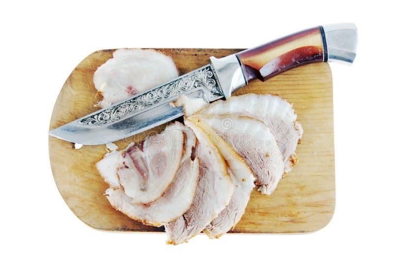 Fat pork ham on a cutting board