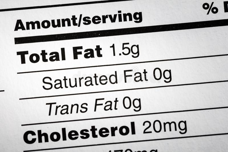 Fat saturated trans cholesterol food label. Fat saturated trans cholesterol label food nutrition facts stock images