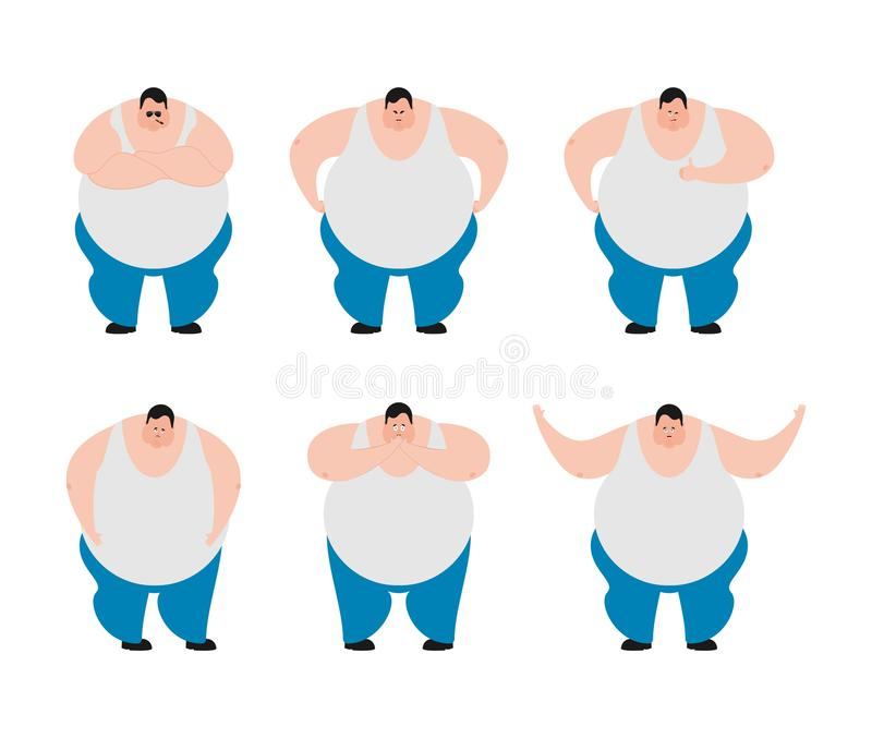 Fat set poses and motion. Stout guy happy and yoga. Big man sleeping and angry. guilty and sad. Vector illustration royalty free illustration