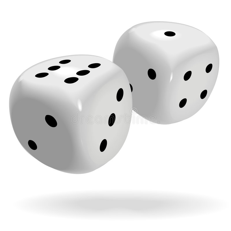 Fat Shiny Dice Roll a Lucky Seven. A pair of fat shiny dice roll a lucky seven, good luck to win a gambling game vector illustration