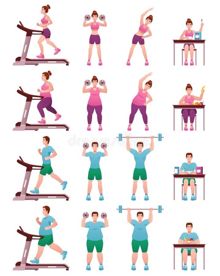 Fat Slim Fitness People Icon Set stock illustration