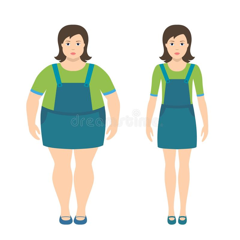 Fat and slim girls vector illustration in flat style. vector illustration